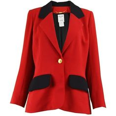 Preowned Celine Vintage Red And Black Pure Wool Riding Style Blazer... (23.675 RUB) ❤ liked on Polyvore featuring outerwear, jackets, blazers, red, red blazer, collar jacket, red and black jacket, checkered blazer and red checkered jacket