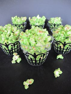 Purple Chocolat Home: Green Slimed Popcorn - add melted white chocolate with green food colour. Ghoulishly delicious.