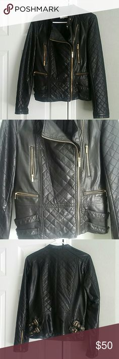 Calvin Klein jacket sz small Soft leather like jacket. Gold zippers on front. And gold buckles on back. Very nice condition. Calvin Klein Jackets & Coats