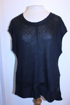 Madewell Top S Black Linen Sleeveless Side-vent Casual Bohemian Tunic Blouse #Madewell #Tunic #Casual