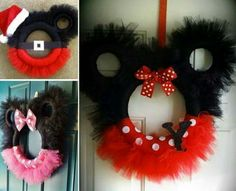 DIY MICKEY TULLE WREATHS....for Christmas! Your little Disney fans are going to just love this & looks so fun to make!  http://thewhoot.com.au/whoot-news/crafty-corner/minnie-mouse-tutus