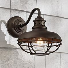 "Franklin Park 9"" High Bronze Metal Cage Outdoor Wall Light Outdoor Wall Light Fixtures, Black Outdoor Wall Lights, Outdoor Ceiling Lights, Barn Lighting, Outdoor Wall Lighting, Outdoor Walls, Lighting Ideas, Cottage Lighting, House Lighting"