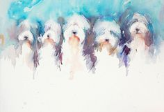 Dogs in Art at the StockBridge Gallery - Five in a Row Bearded Collies by Jean Haines, SOLD (http://www.dogsinart.com/five-in-a-row-bearded-collies-by-jean-haines/)