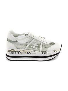 PREMIATA | Premiata Premiata Beth Sneaker In White Leather And Perforated Trasparent Vinyl #Shoes #Sneakers #PREMIATA