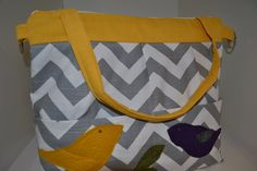 Camera bag made in the USA Grey Chevron Stripe with Mustard Yellow Darby Mack Designs@Etsy