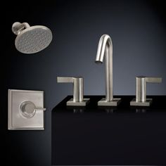 Flair Shower Set #3 - with Widespread Sink Faucet - Overflow - Satin Nickel