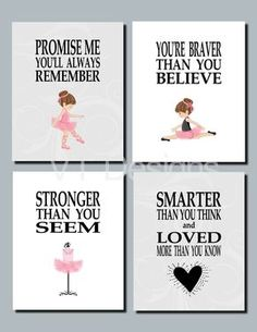Ballerina Decor, Toddler Girl Room Decor, Baby Girl Nursery Art, Pink, Gray, Promise Me You'll Always Remember, Set of 4, Prints or Canvas by vtdesigns on Etsy