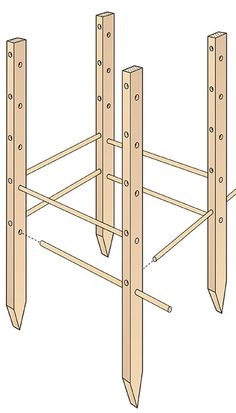 How to Build a Wooden Tomato Cage Illustration | This wooden tomato cage is adjustable, so as your plants grow, you can provide them with the support needed to produce your biggest, juiciest tomatoes yet!