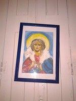 Festmény, ikon, fali kép, Jézus az elveszett és megtalált báránnyal, szentkép