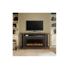 Electric Fireplace TV Stand Media Center Console Space Heater Cabinet  Storage
