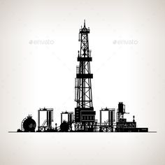 Silhouette Drilling Rig by Serz72 Silhouette Drilling Rig,Oil Rig, Machine which Creates Holes in the Earth,Oil Well Drilling, Vector Illustration