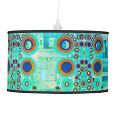 Lamp with symmetric pattern in turquoise