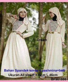 Baju Gamis Modern Terbaru - Detail produk model Gamis spandex murah warna cream: Bahan :spandex korea Kode : BF901886 Ukuran :Fit to L , Panjang 135cm LD 92cm Warna :Cream Harga :