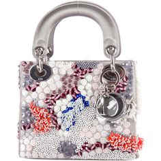 5f368e012b64 Grey satin Christian Dior Mini Lady Dior with abstract bead and sequin  embellishments throughout