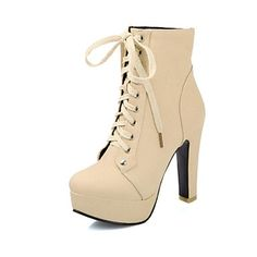 botines zapatos de moda de tacón grueso de las mujeres con zapatos de cordones más colores disponibles - EUR € 39.99