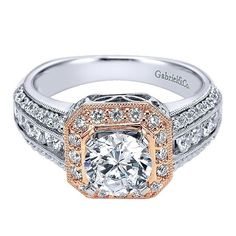 14k Rose/White Gold Empire Engagement Ring with Halo by Gabriel and Co. #ER4007T44JJ