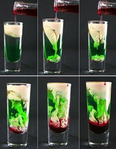 3 creepy cocktail recipes for your party halloween zombie . 3 creepy cocktail recipes for your party halloween zombie brain with peach schnapps, mint liqueur, baileys and a dash of grenadine to Halloween Cocktails, Halloween Shooters, Halloween Jello Shots, Disney Cocktails, Fröhliches Halloween, Halloween Food For Party, Halloween Treats, Halloween Photos, Creepy Halloween Food