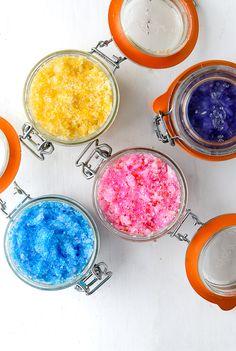 Sparkling Flower-Scented Coconut Oil Sugar Scrubs
