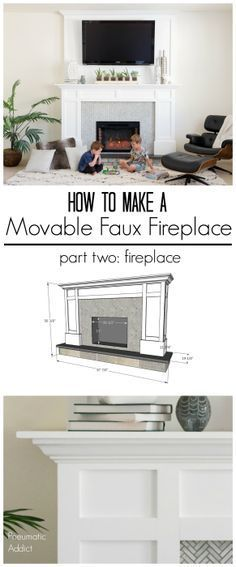 How to make a renter friendly faux fireplace with overmantle that you can pick up and move. fireplace, How to Make a Movable Faux Fireplace: part two- Fireplace Faux Fireplace Mantels, Diy Mantel, Fireplace Built Ins, Home Fireplace, Living Room With Fireplace, Fireplace Design, My Living Room, Fireplace Ideas, Diy