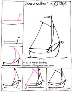 step by step how to draw a yacht or boat in 6 steps