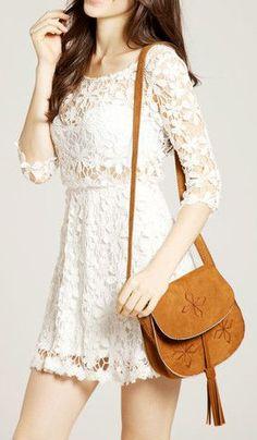Crochet Floral Crop Sleeve Dress - Beige.. Love the purse.