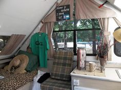 Classy and comfortably decorated A Frame Camper, A Frame Tent, Popup Camper, Aliner Campers, Tent Campers, Camping Storage, Campervan Interior, Camping Organization, Camper Makeover