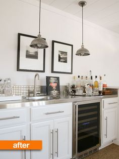 Love the metal mosaic tile short mini-backsplash in this minibar area.  If my house weren't so traditional I'd incorporate this into my kitchen somehow.