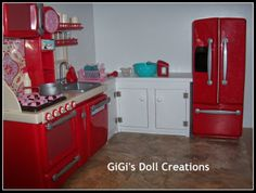 GiGi's Doll and Craft Creations: American Girl Doll Kitchen and Custom Cabinet Tut. GiGi's Doll and Craft Creations: American Girl Doll Kitchen and Custom Cabinet Tut. American Girl Kitchen, American Girl House, American Girl Crafts, Doll Crafts, Diy Doll, Sewing Crafts, Ag Doll House, Doll Houses, Barbie House