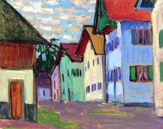 "Gabrielle Münter - Alley in Murnau, 1908. One of the founders of the ""Der Blaue Reiter."""