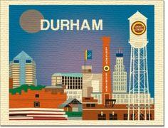 Durham, North Carolina skyline illustration printed on woven textured stock, 100% recycled.