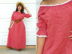 1970s Vintage Red Prairie Maxi Dress with by Enchantedfuture