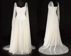 Ravenswing Dress  Elven Stil samt & Chiffon Kleid