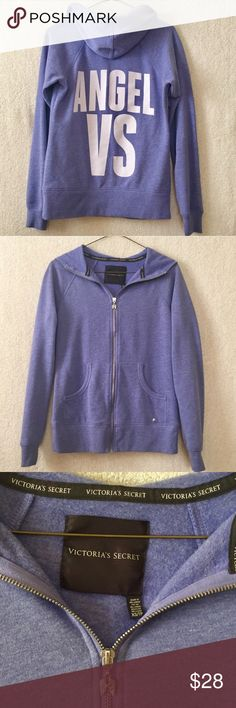 Victoria's Secret VS Angel Purple Logo Hoodie Cute and super soft. Lavender with white lettering and small silver colored charms. VS Angel logo on the back. Size XS. Great condition. Victoria's Secret Tops Sweatshirts & Hoodies