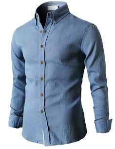 Mens Classic Washing Denim Shirt With Button Details On Collar (KMTSTL044) #doublju