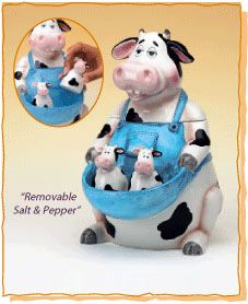 Cow Cookie Jar with Salt and Pepper Shakers