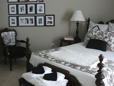 HGTV fanDortmagort's guest bedroom includes family pictures in black frames with white matting, the perfect touch for a room that welcomes weary guests.