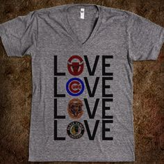 Chicago Sports Love Vneck Top - shine on - Skreened T-shirts, Organic Shirts, Hoodies, Kids Tees, Baby One-Pieces and Tote Bags Custom T-Shirts, Organic Shirts, Hoodies, Novelty Gifts, Kids Apparel, Baby One-Pieces | Skreened - Ethical Custom Apparel