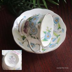 Vintage Royal Albert MORNING GLORY Bone China Tea Cup and Saucer - Made in England
