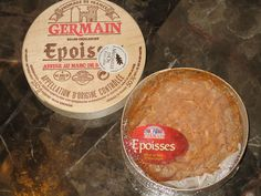 Epoisses de Bourgogne - Epoisses de Bourgogne is a soft cow's milk cheese produced by Jacques Hennart in the village Époisses, France.  Commonly called as Epoisses, the cheese has creamy, chewy and firm texture. With a distinctive soft red-orange color, it is categoried as a smear-ripened cheese washed in marc de Bourgogne. It takes at least 6 weeks to mature fully.     Despite its pungent smell, the cheese has a spicy, sweet and salty flavor. It goes well with Trappist beer and Sauternes.