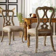 Hooker Furniture Chatelet Splatback Side Chair (Set of Solid Wood Dining Chairs, Upholstered Dining Chairs, Dining Chair Set, Hooker Furniture, Cottage Furniture, Dream Furniture, Distressed Painting, Leaf Table, Dining Room Lighting