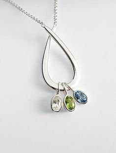 family embrace birthstone necklace - 4 stone