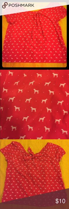 """Puppers Blouse Red blouse with repeating pattern of doggos. Scoop neck in the front and tie in the back for cute flair and fit. Loose fitting smock style. Armpit to armpit: 21"""" Length 22"""" No Stretch. Machine washable. 100% polyester Old Navy Tops Blouses"""
