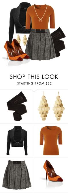 """What I'm Thankful For"" by madameregal ❤ liked on Polyvore featuring Trasparenze, Amrita Singh, Jane Norman, Hobbs NW3, Alice + Olivia, Sergio Rossi, Adina Reyter, bow necklaces, orange heels and cardigans"