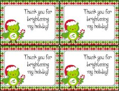 FREE Christmas thank-you cards to give to your students for gifts given.