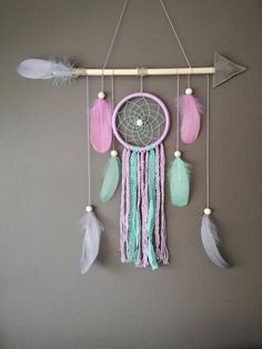 This dream catcher is ready to be ship!---  This purple nursery dreamcatcher wall hanging gives shabby chic touch to your room. Perfect decoration item for little adventurers room. Great gift for baby shower, for birthdays or valentines day. It will watch over your babys dreams, keeping away