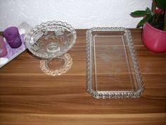 Pokal Schale u Glas Tablett Geschliffen Rand mit Durchbrüchen