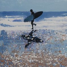 Lone Surfer II, Cornwall. Original Sold - Print Available.