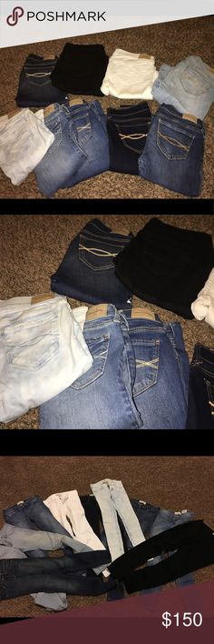 Abercrombie Jeans Kids Size 14 9 pair of Abercrombie Kids Jeans.  Worn only a few times. No holes or rips or worn knees. Great condition.  Last picture 6 pair are size 14 on left.  3 pair denim on the right side are 14 slim Abercombie Kids Bottoms Jeans