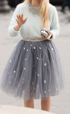 love the skirt and the sweater together, an adult version of sparkle and tulle