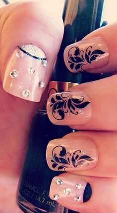 Nude and Black with Rhinestones Nail Art Design